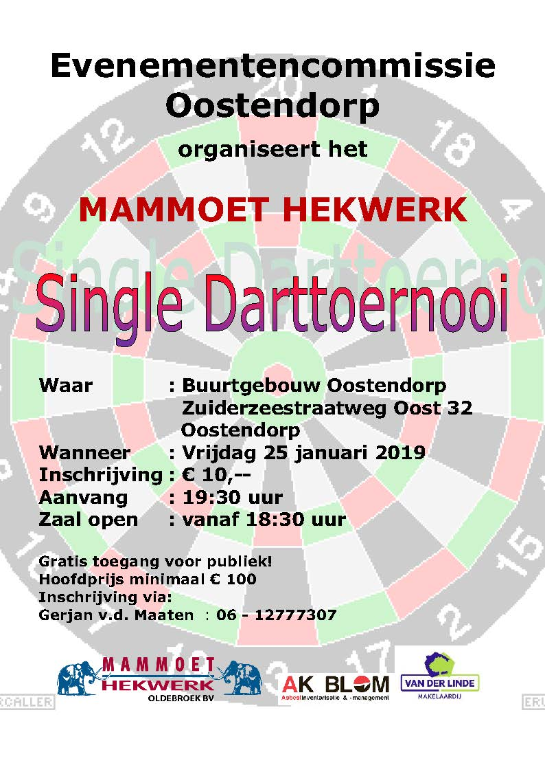 pamflet single darttoernooi 2019